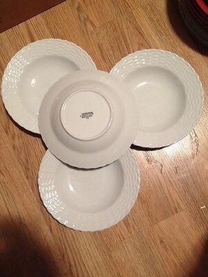 """Set Of 4 TIENSHAN China WHITE WICKER pattern Rimmed Soup or Salad Bowl 8 5/8"""""""