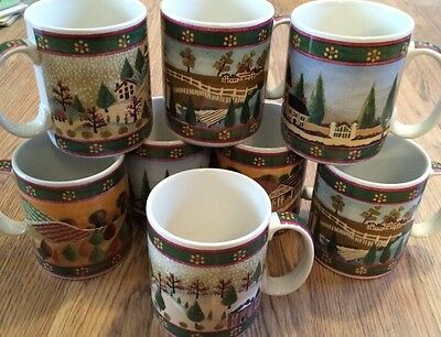 SET OF 8 COUNTRY VILLAGE COFFEE CUPS MUGS BLOCK GEAR WINTER,SPRING,SUMMER&FALL