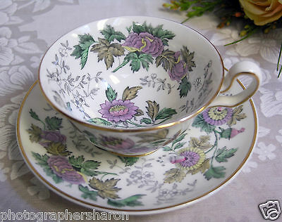 Wedgwood Avon Lavender Floral Peony Teacup and Saucer Made in England MINT