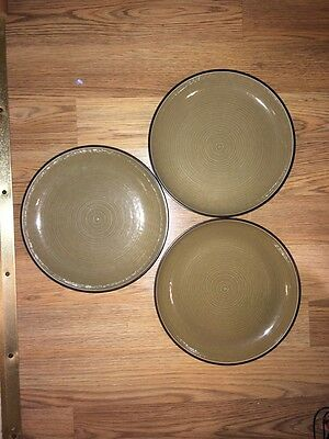 "Set Of 3 Dansk SPIN Dinner Plates Tan/Brown 10 5/8"" Dia.  EXCELLENT"