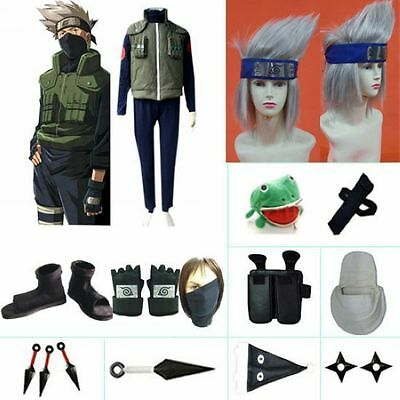 Naruto Kakashi Sensei Halloween Cosplay Costume Naruto set with wig any size