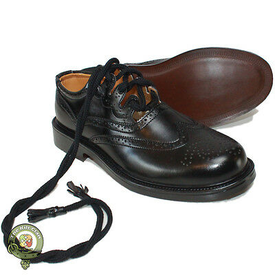 Ghillie Brogues Scottish Kilt Shoes, Black Leather Ghillie Brogues, Sizes 6-12
