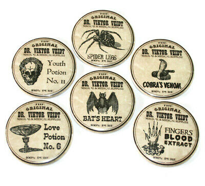 Potion Labels Fridge Magnets Set 6pc 55mm Witch Potions Creepy Gothic Spooky