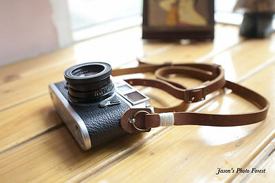 Handmade Real Leather camera strap neck strap for film camera EVIL camera 01-064
