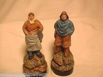Pair of Vintage French Terra Cotta Pottery Figurines Fisherman & Wife Signed