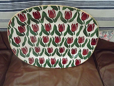 MASSIVE Nicholas Mosse Pottery oval platter with Red Tulip Pattern Fully Stamped