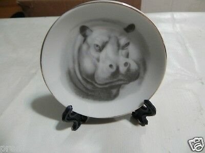 """Hippopotamus Plate with Stand Small 3"""""""