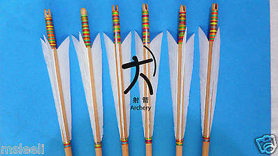 6X Traditional Wooden Arrow War-Style Turkeys Feather for European Style bow