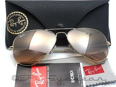 Ray Ban Aviator Gradient RB 3025 001/3E 58-14 Gold Pink Silver Mirror 58 mm Lens