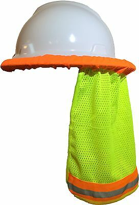 Safety Hard Hat Neck Shield / Helmet Sun Shade Hi Vis Reflective Stripe - Yellow