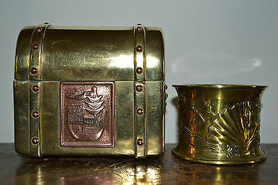 Antique 19th Century Art Nouveau Brass and Copper Casket and Spill Holder,c1890