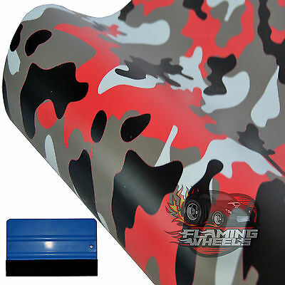 1.5m x 60cm JDM urban red matte city camouflage camo car wrap vinyl + SQUEEGEE