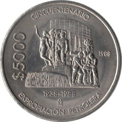 """Mexiko 5000 Pesos 1988 """"50th Anniversary - Nationalization of Oil Industry"""""""