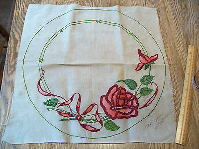 "Vintage Antique Pillow Top Red Roses Hand Embroidered  17"" X 17""  Linen   #6077"