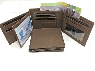 Mens Genuine Leather Wallet w/ 17 Credit Cards - Black (AEW-31)