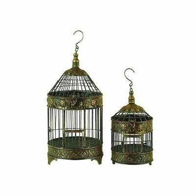 2 Antique Metal Round Large Bird Cage Hook Hang House Parakeet Finch Macaw