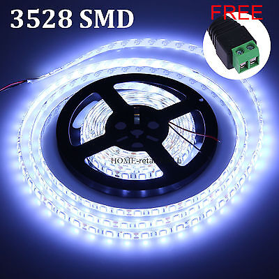 5M 3528 300SMD Cool White LED Flexible Strip Fairy Light IP20+ Free DC Connector