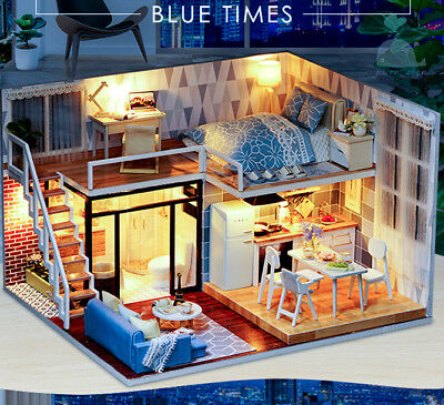 DIY Handcraft Miniature Project Wooden Dolls House Blue Times 2018
