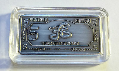 "5 Gram Tibetan Silver ""YEAR OF THE SNAKE"" Ingot Tibet Mint"