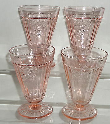 """4 Anchor Hocking MAYFAIR/OPEN ROSE PINK *5 1/4"""" 10oz FOOTED TUMBLERS*MINT**"""
