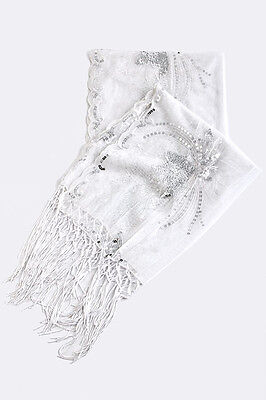 Elegant Formal Evening Bridal Sheer White Silver Dragonfly Sequined Shawl Wrap