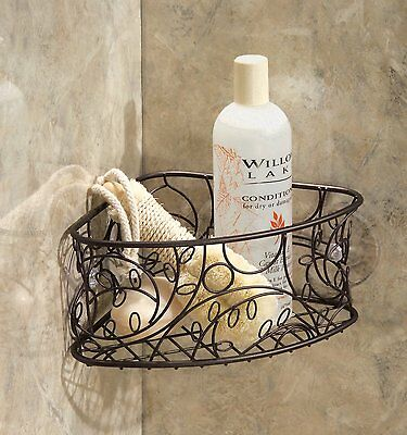 Bronze Shower Caddy Suction Cup Metal Corner Basket Bathroom ...