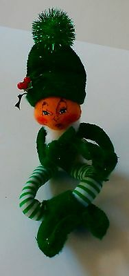 "Annalee Green Christmas Elf 2004 Decoration 6"" Tall Sitting Excellent!"