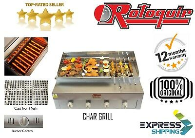 Commercial 4 Burner Charcoal Grill Half Griddle Gas Char Grill Seekh Kebab Grill