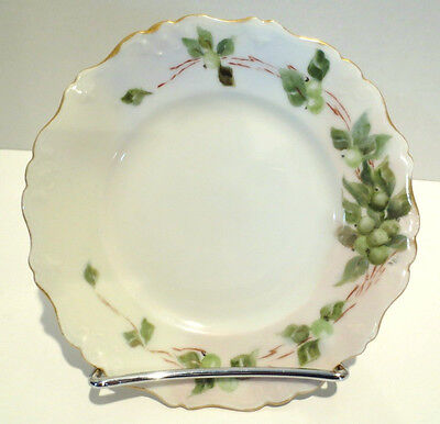 Antique LIMOGES Hand Painted Plate Gold Signed BBC (Olive or Grapes Vines) 1900s