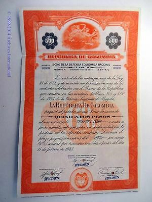 Colombian 1943 Republica Colombia Specimen 500 Pesos Coupons Bond Share Loan