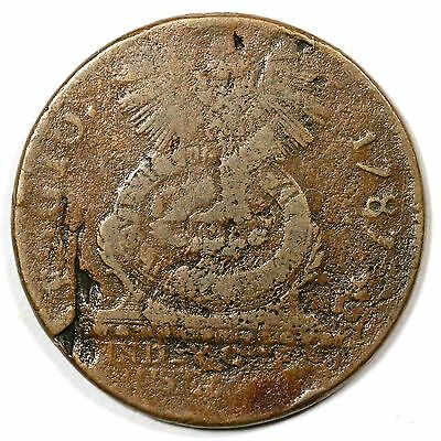 1787 N 1-L R-5 Cross after Date Fugio Colonial Copper Coin