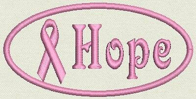 """Breast Cancer Awareness  Patch Tag, Badge - Hope - Iron On / Sew On 4""""x1.75"""