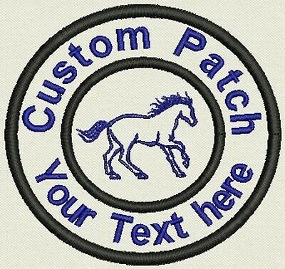 "3.5"" Circle Patch  with Horse Add text or Name - Iron On, or Sew On"