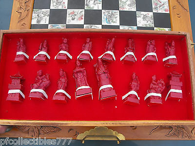 Chinese Chess Set Red and Green Pieces Wooden Box