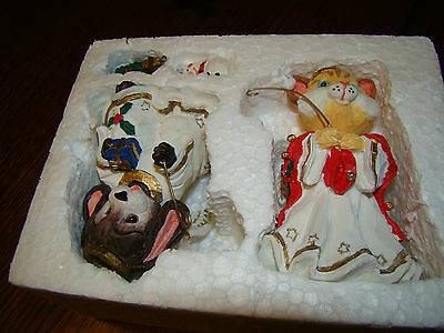 NEW ANGELIC ANIMAL'S ANGELS CAT KITTY DOG PUPPY WITH SNOWMAN CHRISTMAS TREE DECO