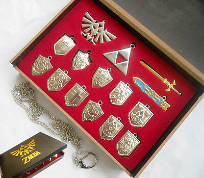 14PCS/Set The Legend of Zelda Sword Shield Necklace Keychain Metal New In Box
