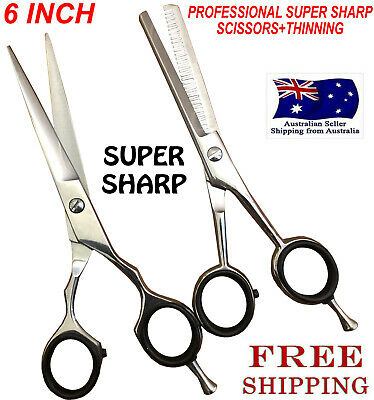 Professional Hair Cutting + Thinning Scissors Barber Shears Hairdressing Set 6""