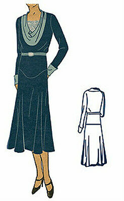 #T6585 - 1930s Ladies Dress With Cowl Neck Sewing Pattern (LG) - Historical