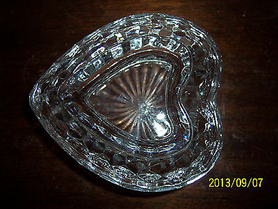 HOMCO HEART SHAPED GLASS COVERED CANDY DISH MARKED