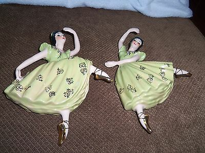 Beautiful Porcelain Ladies Ballerina Wall Plaques in Green and Gold Set of 2