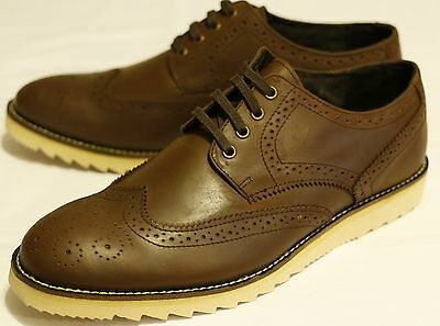 Men's Brown Real Waxy Leather Fashion Brogue Lace up Shoes. UK Sizes 7-12.