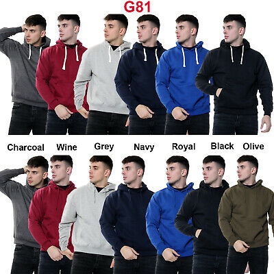 Mens Fleece Plain Hoodie Sweatshirt Hooded Pullover Casual Gym Adult Top