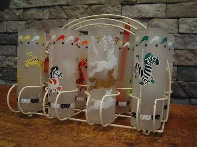 Libbey Carousel 8 Merry-Go-Round Glasses Frosted Tom Collins Carousel Plus Rack