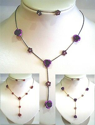 """Wholesale Six (6) Rose Necklace Earring Sets, Purple & Red, 15"""" Long to 18"""" Long"""