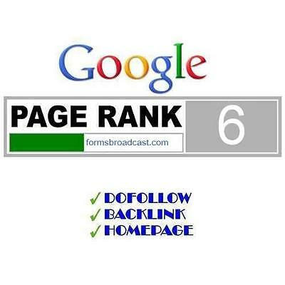1 x PR6 Permanent Do Follow backlinks Page Rank 6 Google SEO manual submission
