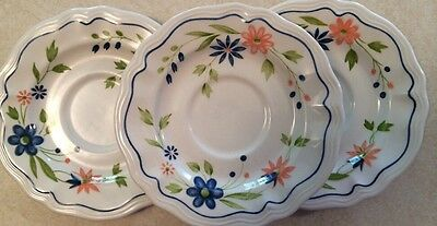 """Set of 3 Sears Country French Ironstone 6 1/4"""" Saucers Blue Pink Floral"""