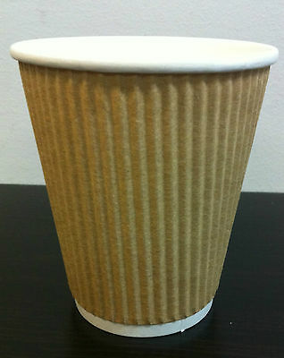 400set 12 oz Kraft Triple Ripple wall disposable paper coffee cups and lids