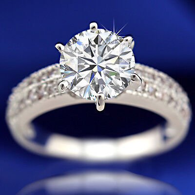 18K Gold Gf R209 Pave Diamond 2Ct Claw Solitaire Wedding Solid Vintage Lady Ring