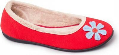 Padders HAPPY Ladies Womens Felt Wide E Fit Memory Foam Ballerina Slippers Red