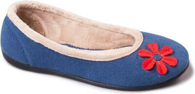 Padders HAPPY Womens Ladies Felt Wide E Fit Comfy Soft Ballerina Slippers Blue